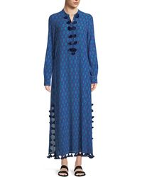 Figue - Paolina Tie-dye Tassel-trimmed Cotton-blend Kaftan - Lyst