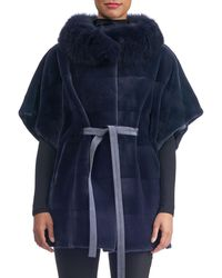 Gorski | Sheared Mink Suede-belt Horizontal Cape With Fox-collar | Lyst