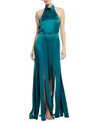 ESCADA - Halter-neck Sleeveless Silk Satin Evening Gown W/ Car Wash Hem - Lyst