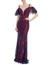 Jovani | Cold-shoulder Open-back Lace Dress | Lyst