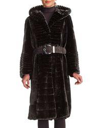 Gorski - Micro Sheared Mink Coat With Hood & Leather Belt - Lyst