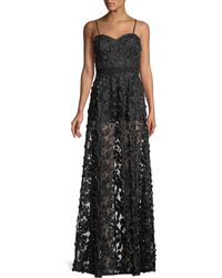 Aidan By Aidan Mattox - Embroidered Illusion Gown W/ Optional Straps - Lyst