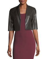 Michael Kors - Cropped Plonge Leather Jacket - Lyst