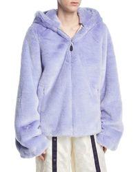 PUMA - Faux-fur Zip-front Hooded Oversized Jacket - Lyst