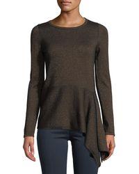 Neiman Marcus - Cashmere Metallic Asymmetric Peplum Sweater - Lyst