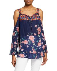 Johnny Was - Oceane Printed Cold-shoulder Long-sleeve Blouse - Lyst