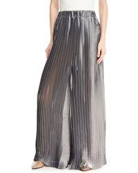 Brunello Cucinelli - Metallic Pleated Wide-leg Pants - Lyst