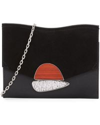 Proenza Schouler - Curl Embellished Suede And Textured-leather Clutch - Lyst