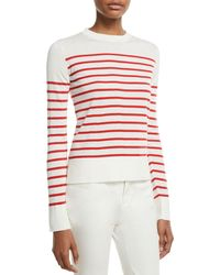 Loro Piana - Crewneck Striped Lightweight Cashmere Pullover Sweater - Lyst