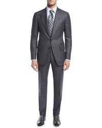 Tom Ford - Shelton Base Salt & Pepper Wool-silk Two-piece Suit - Lyst