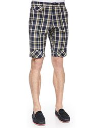 Band of Outsiders | Plaid Shorts With Bias Patches | Lyst