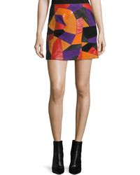 McQ - Patch-cut Colorblocked Leather Skirt - Lyst
