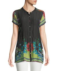 Johnny Was - Short-sleeve Flower Button-front Pintucked Blouse - Lyst