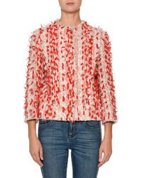 Alexander McQueen - Jewel-neck Painterly Tweed Jacket With 3-d Ribbon Trim - Lyst