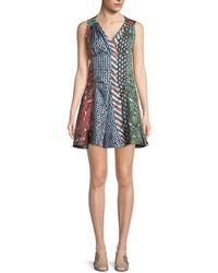 Carven - Mixed-print Silk Flared Dress - Lyst