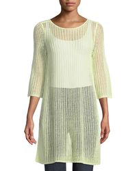 Eileen Fisher - 3/4-sleeve Long Organic Linen Tunic With Side Slits - Lyst
