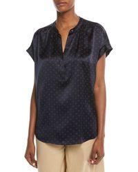 Vince - Dot-print Foulard Silk Short-sleeve Top - Lyst