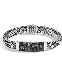 John Hardy - Sterling Silver Classic Chain Black Sapphire Wide Flat Chain Station Bracelet - Lyst