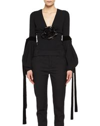 Saint Laurent - Bishop-sleeve Top With Leather Flower - Lyst