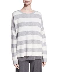 Eileen Fisher - Round-neck Long-sleeve Striped Sweater Top - Lyst