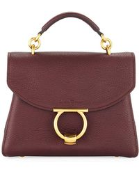 Ferragamo - Small Gancio Vela Soft Flap Top Handle Bag - Lyst 09510c4c13360
