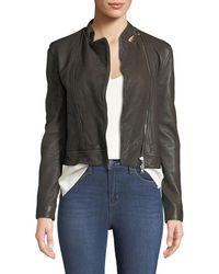 L'Agence - Devon Leather Moto Jacket - Lyst