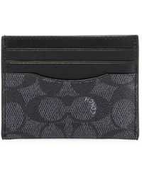 3e0c12e850fa COACH - Card Case In Signature Coated Canvas (grey) Credit Card Wallet -  Lyst