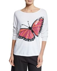 Joan Vass - Long-sleeve Sequined Butterfly Sweater - Lyst