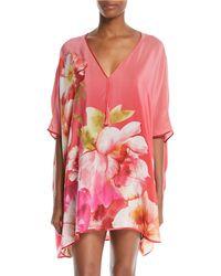 Josie Natori - Paradis Floral-print Silk Short Caftan - Lyst