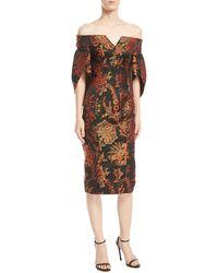 Zac Posen - Off-the-shoulder Floral-jacquard Sheath Cocktail Dress - Lyst