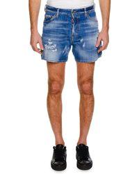 DSquared² - Men's Distressed Denim Shorts - Lyst