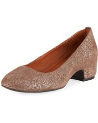 Gentle Souls - Priscille Crinkled Metallic Leather Low-heel Pumps - Lyst
