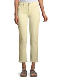PAIGE - Hoxton Mid-rise Straight-leg Ankle Jeans W/ Fray Hem - Lyst