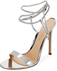 c2277ffd0 Gianvito Rossi - Tennis 105 Crystal-embellished Metallic Patent-leather  Sandals - Lyst
