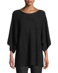 Eileen Fisher - Bateau-neck 3/4-sleeve Ribbed Merino Wool Sweater - Lyst