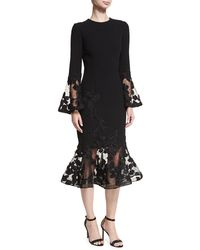 Teri Jon - Long-sleeve Crepe Flounce-lace Cocktail Dress - Lyst