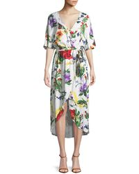 Alice + Olivia - Clarine Floral-print Wrap Dress With Oversize Sleeves - Lyst