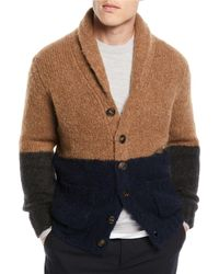Brunello Cucinelli - Men's Colorblock Shawl-collar Cardigan - Lyst