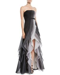 Halston - Strapless Ombré Tiered Ruffle Gown - Lyst