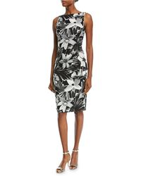 Michael Kors - High-neck Sleeveless Floral-print Sheath Cocktail Dress - Lyst