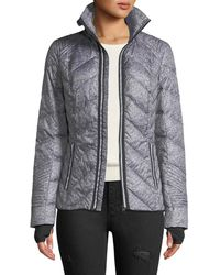 BLANC NOIR - Metallic Zip-front Quilted Puffer Jacket With Reflective Trim - Lyst