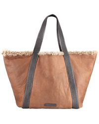 Brunello Cucinelli - Reversible Shearling Fur Tote Bag - Lyst