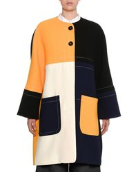 Marni - Colorblock Two-button Double-face Crepe Coat - Lyst