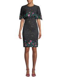 Tadashi Shoji - Lace Popover Dress W/ Floral Embroidery - Lyst