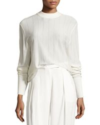 DKNY - Long-sleeve Pinstripe Wool-blend Sweater - Lyst