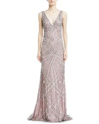 THEIA   Vintage Beaded Sleeveless V-neck Gown   Lyst