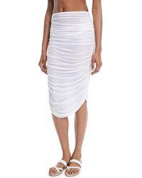 Norma Kamali - Shirred Knee-length Coverup Skirt - Lyst