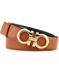 Ferragamo - Gancini-buckle Leather Belt - Lyst