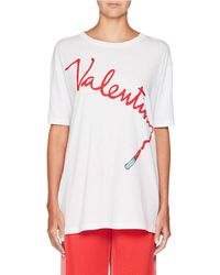 Valentino - Crewneck Lipstick Logo Oversized Cotton T-shirt - Lyst