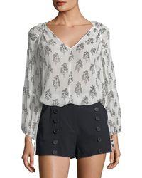 A.L.C. - Chantal V-neck Long-sleeve Silk Top - Lyst
